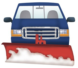 A snowplow mounted to the front of the truck will require extra suspension support for the front axle.