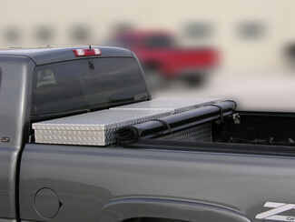 Rolled up Access Tool Box tonneau with straps