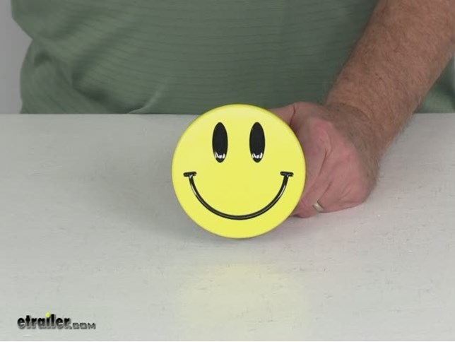 Video Of Smiley Face Hitch Cover 2 Hitches Stainless Steel Yellow