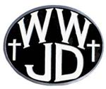 "WWJD 2"" Trailer Hitch Receiver Cover"
