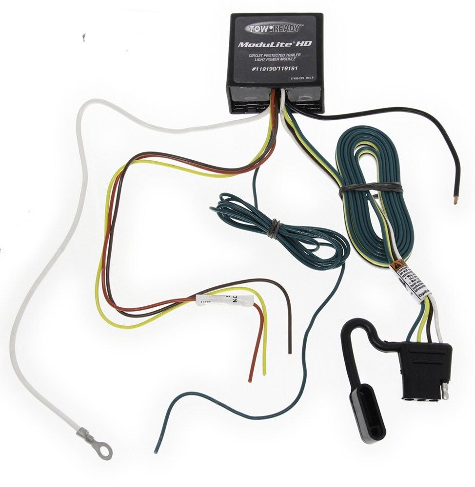 upgraded heavy duty modulite circuit protected vehicle wiring harness with 4 pole trailer