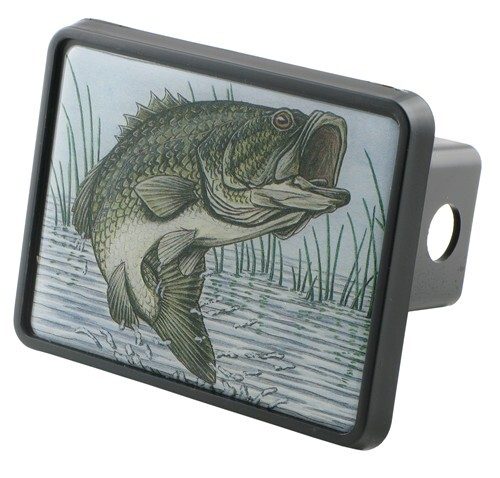 Bass trailer hitch receiver cover for 2 trailer hitches for Fish hitch cover