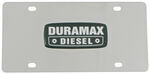 Stainless Steel License Plate Black Duramax Diesel Logo Chrome