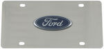 Stainless Steel License Plate Ford Logo Chrome