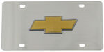 Stainless Steel License Plate Chevy Bowtie Gold