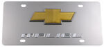 Stainless Steel License Plate Malibu with Chevy Logo Chrome