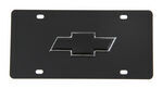 Ebony Finished Stainless Steel License Plate Black Chevrolet Logo Chrome