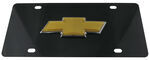 Ebony Finished Stainless Steel License Plate Chevy Logo Gold