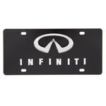 Ebony Finished Stainless Steel License Plate Infiniti with Logo Chrome