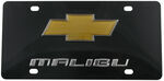 Ebony Finished Stainless Steel License Plate Malibu with Chevy Logo Chrome