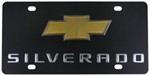 Ebony Finished Stainless Steel License Plate Silverado with Chevy Logo Chrome