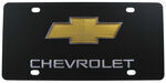 Ebony Finished Stainless Steel License Plate Chevy with Logo Gold