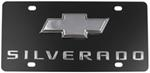 Ebony Finish Stainless Steel License Plate Silverado with Chrome Chevy Logo