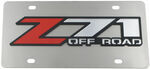 Stainless Steel License Plate with Red Z71 Off Road Logo