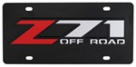 Z71 Off-Road License Plate - Red and Chrome Lettering - Stainless Steel with Black Finish
