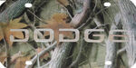 Dodge License Plate - Chrome Lettering - Stainless Steel with Camo Finish