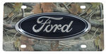 Ford License Plate - Large, Blue, Oval Logo - Stainless Steel with Camo Finish