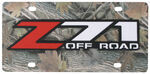 Z71 Off-Road License Plate - Red and Chrome Logo - Stainless Steel with Camo Finish