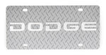 Dodge License Plate - Chrome Lettering - Stainless Steel with Diamond Plate Pattern