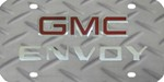 GMC Envoy License Plate - Red Logo and Chrome Lettering - Stainless w Diamond Plate Pattern