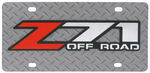 Z71 Off-Road License Plate - Red and Chrome Logo - Stainless Steel w Diamond Plate Pattern