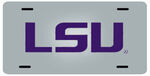LSU License Plate - Purple Lettering - Stainless Steel with Mirror Finish