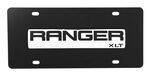 Ford Ranger License Plate - Black and Chrome Logo - Stainless Steel with Black Finish