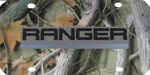 Ford Ranger License Plate - Black and Chrome Logo - Stainless Steel with Camo Finish
