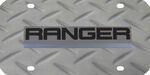 Ford Ranger License Plate - Black and Chrome Logo - Stainless Steel with Diamond Plate Pattern