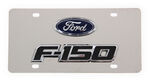 Stainless Steel License Plate F150 with Ford Logo - Chrome