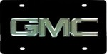 GMC License Plate - Chrome Logo - Stainless Steel w/ Black Finish