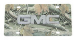 GMC License Plate - Chrome Logo - Stainless Steel w/ Camouflage Print
