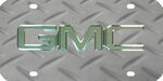 GMC License Plate - Chrome Logo - Stainless Steel w/ Silver Diamond Plate Print