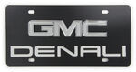 Ebony Finished Stainless Steel License Plate Denali with GMC Logo Chrome