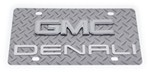 GMC Denali License Plate - Chrome Logo - Stainless Steel w Diamond