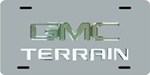 GMC Terrain License Plate - Chrome Logo and Lettering - Stainless Steel w/ Chrome Finish
