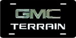 GMC Terrain License Plate - Chrome Logo and Lettering - Stainless Steel w/ Black Finish