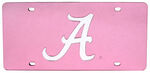 "University of Alabama ""A"" License Plate - Chrome Logo - Plexiglas with Pink Finish"