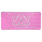 "Auburn University ""AU"" License Plate - Chrome Logo - Plexiglas with Pink Finish"