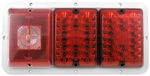 Bargman Triple Tail Light - 84, 85 Series - Red LED, Incandescent Backup - Colonial White Base