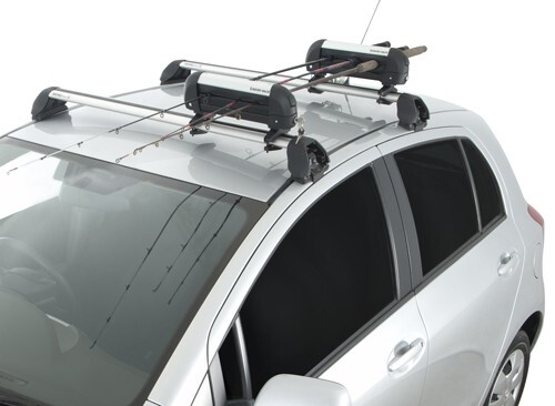 Rhino rack locking ski carrier and fishing rod holder for Roof rack fishing rod holder