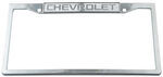 Chevrolet Stainless Steel License Plate Frame - Chevy Logo on Top