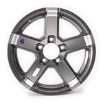 "Americana 5-Spoke Trailer Wheel, 15"" x 5""  Gunmetal Gray Color"