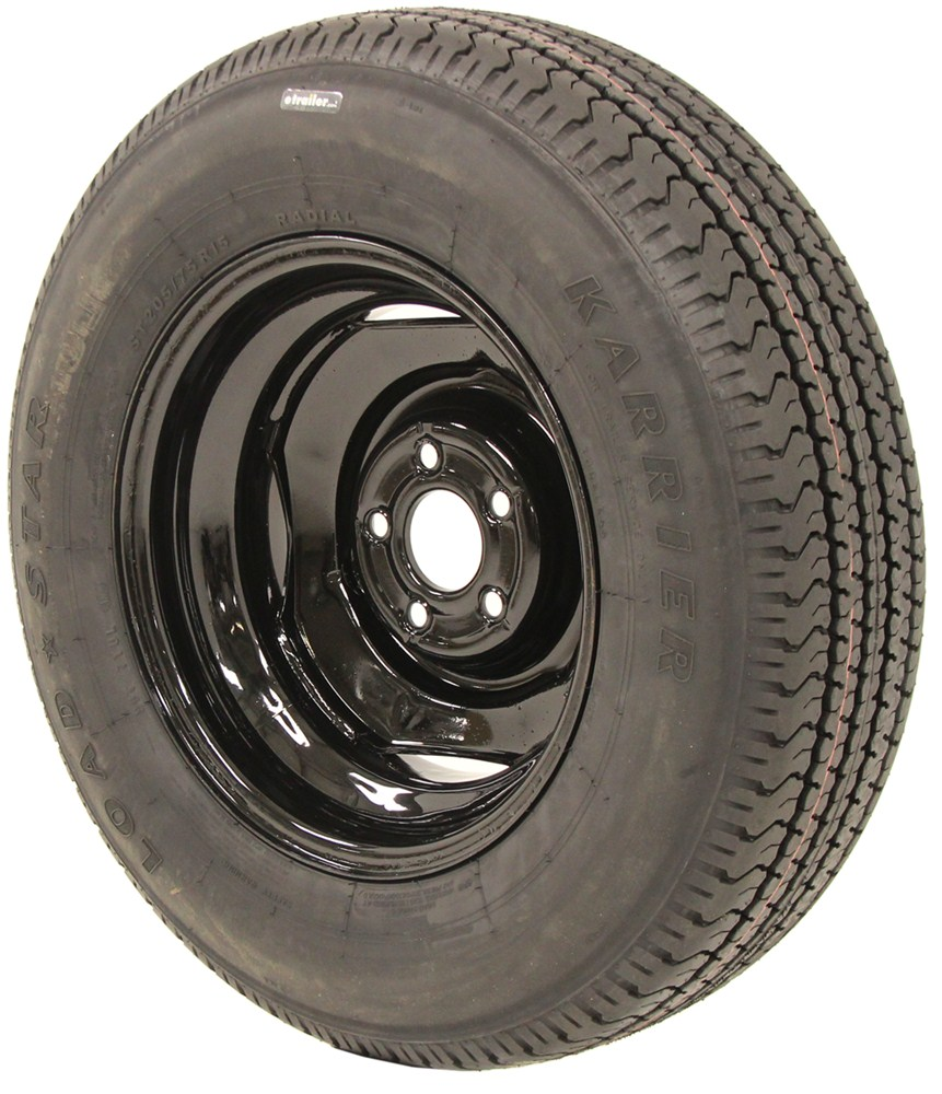 karrier st205 75r15 radial trailer tire w 15 wheel with 5 offset 5 on 4 1 2 load range c. Black Bedroom Furniture Sets. Home Design Ideas