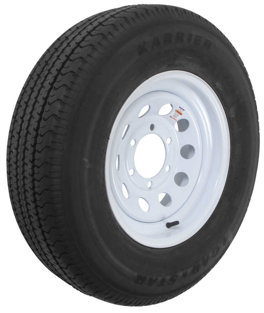 karrier st225 75r15 radial trailer tire with 15 modular white wheel 6 on 5 1 2 load range. Black Bedroom Furniture Sets. Home Design Ideas