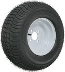 "Kenda 205/65-10 Bias Trailer Tire with 10"" White Wheel - 4 on 4 - Load Range E"