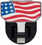Carr Custom-Fit Tow-Hook-Mounted Step - Aluminum - American Flag Graphic - Qty 1