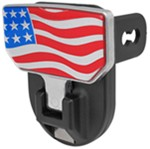"Carr Hitch Mounted Step for 2"" Trailer Hitches - Aluminum - American Flag Graphic"