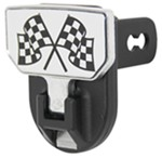 "Carr Hitch Mounted Step for 2"" Trailer Hitches - Aluminum - Checkered Flags Graphic"