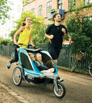 Chariot Chinook Stroller and Jogger - Urban Series - 2 Child - Newborn and Up - Aqua/Gray/Periwinkle